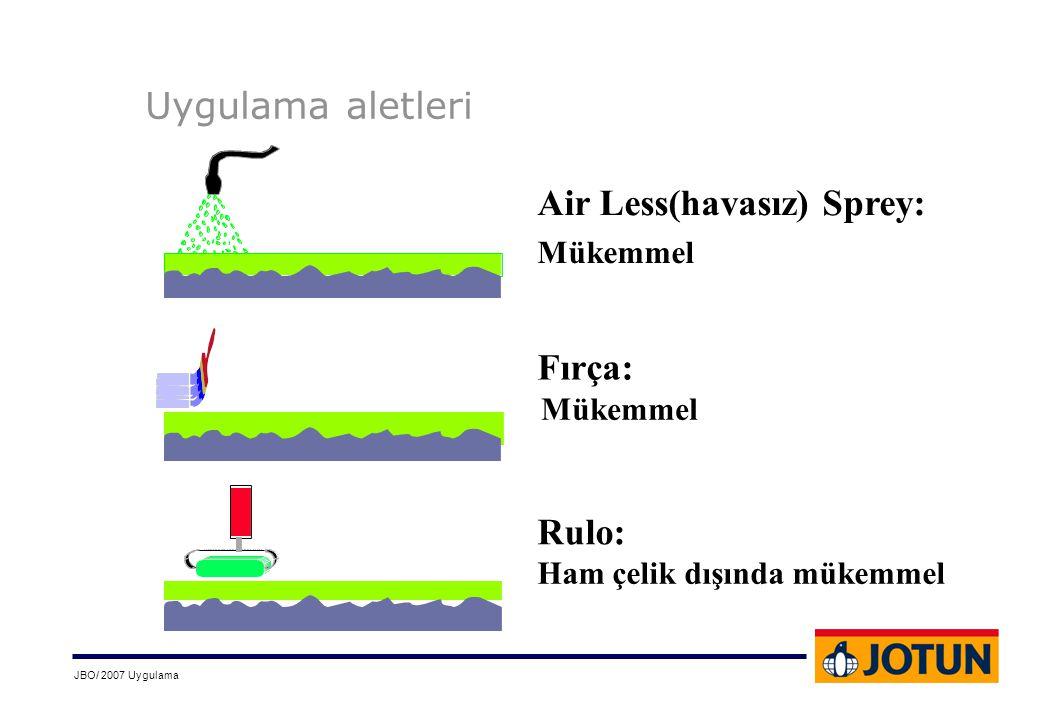 JBO/ 2007 Uygulama Uygulama aletleri Air Less(havasız) Sprey: Fırça: Rulo: Mükemmel Ham çelik dışında mükemmel Mükemmel
