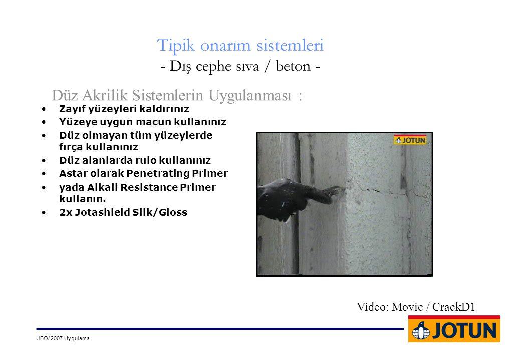 JBO/ 2007 Uygulama Tipik onarım sistemleri - Dış cephe sıva / beton - •Zayıf yüzeyleri kaldırınız •Yüzeye uygun macun kullanınız •Düz olmayan tüm yüze