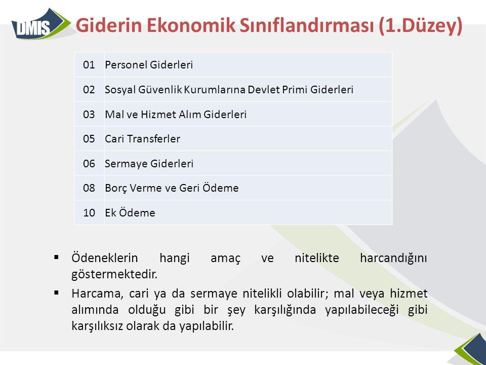 Giderin Ekonomik Sınıflandırması (1.Düzey)  Ödeneklerin hangi amaç ve nitelikte harcandığını göstermektedir.  Harcama, cari ya da sermaye nitelikli
