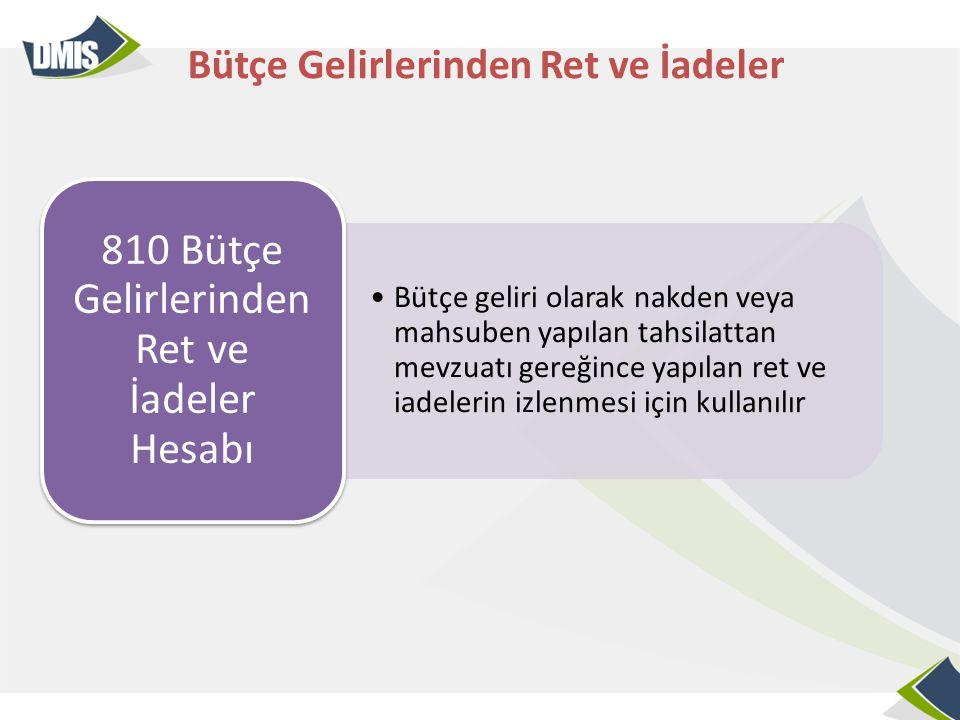 •Bütçe geliri olarak nakden veya mahsuben yapılan tahsilattan mevzuatı gereğince yapılan ret ve iadelerin izlenmesi için kullanılır 810 Bütçe Gelirler