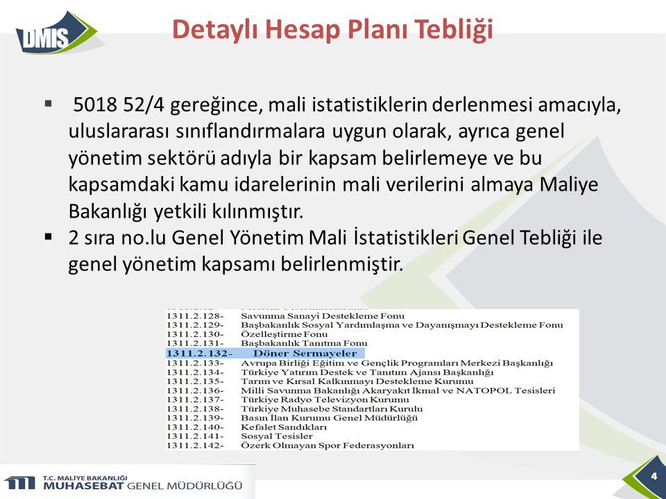 4 Detaylı Hesap Planı Tebliği 4  5018 52/4 gereğince, mali istatistiklerin derlenmesi amacıyla, uluslararası sınıflandırmalara uygun olarak, ayrıca g