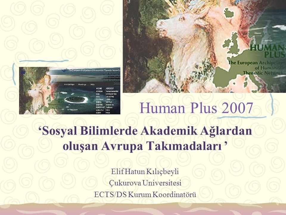 Human Plus 2007 'Sosyal Bilimlerde Akademik Ağlardan oluşan Avrupa Takımadaları ' Elif Hatun Kılıçbeyli Çukurova Universitesi ECTS/DS Kurum Koordinatö