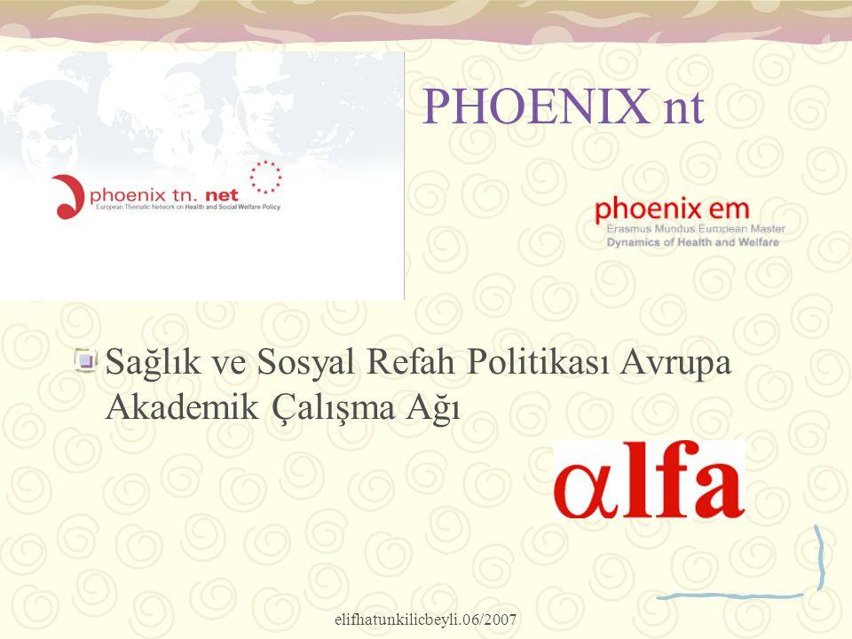 elifhatunkilicbeyli.06/2007 PHOENIX nt Sağlık ve Sosyal Refah Politikası Avrupa Akademik Çalışma Ağı