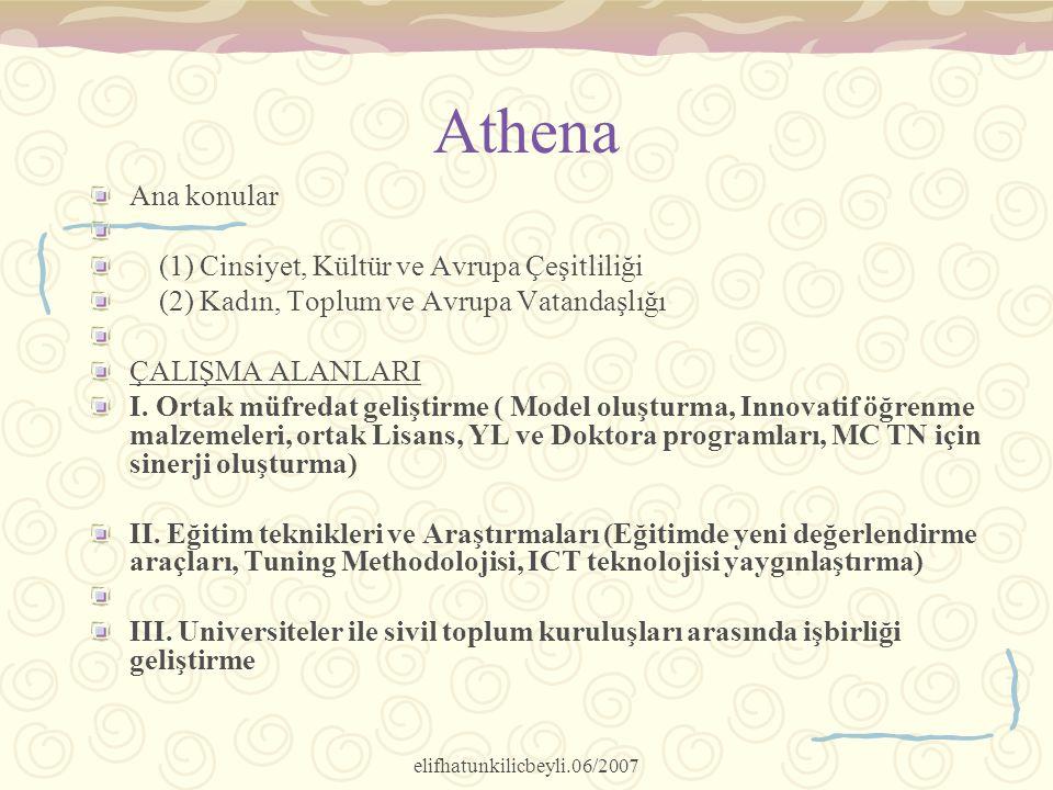 elifhatunkilicbeyli.06/2007 Athena Ana konular (1) Cinsiyet, Kültür ve Avrupa Çeşitliliği (2) Kadın, Toplum ve Avrupa Vatandaşlığı ÇALIŞMA ALANLARI I.