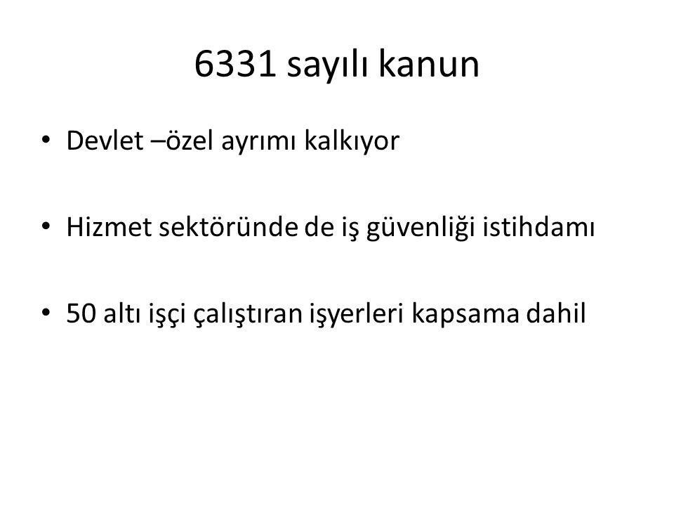 6331 sayılı kanun • Devlet –özel ayrımı kalkıyor • Hizmet sektöründe de iş güvenliği istihdamı • 50 altı işçi çalıştıran işyerleri kapsama dahil
