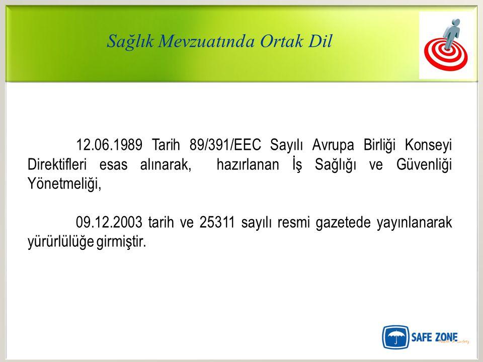 Sağlık Mevzuatında Ortak Dil 12.06.1989 Tarih 89/391/EEC Sayılı Avrupa Birliği Konseyi Direktifleri esas alınarak, hazırlanan İş Sağlığı ve Güvenliği Yönetmeliği, 09.12.2003 tarih ve 25311 sayılı resmi gazetede yayınlanarak yürürlülüğe girmiştir.