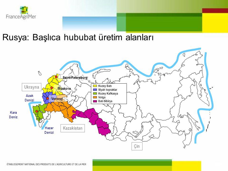 Kuzey Batı Siyah topraklar Kuzey Kafkasya Volga Batı Sibirya Moskova Voronej Kara Deniz Azak Denizi Hazar Denizi Saint-Petersburg Kazakistan Çin Ukray