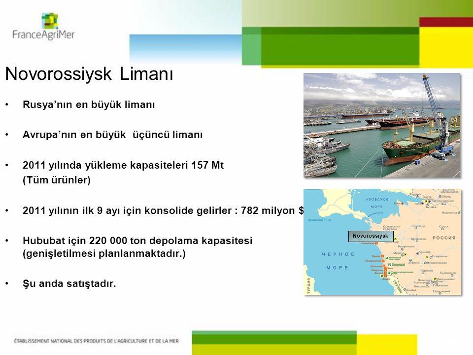 Novorossiysk Limanı •Rusya'nın en büyük limanı •Avrupa'nın en büyük üçüncü limanı •2011 yılında yükleme kapasiteleri 157 Mt (Tüm ürünler) •2011 yılını