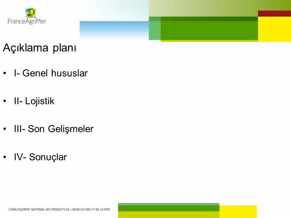 Açıklama planı •I- Genel hususlar •II- Lojistik •III- Son Gelişmeler •IV- Sonuçlar