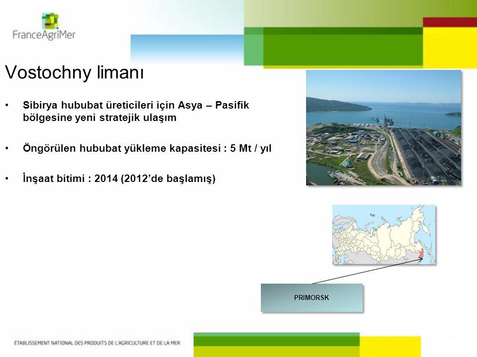 Vostochny limanı •Sibirya hububat üreticileri için Asya – Pasifik bölgesine yeni stratejik ulaşım •Öngörülen hububat yükleme kapasitesi : 5 Mt / yıl •