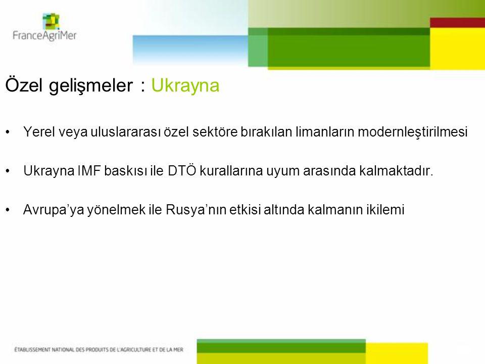 Özel gelişmeler : Ukrayna •Yerel veya uluslararası özel sektöre bırakılan limanların modernleştirilmesi •Ukrayna IMF baskısı ile DTÖ kurallarına uyum