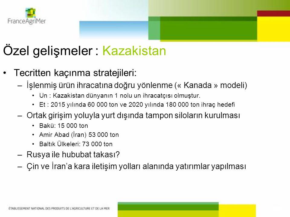 Özel gelişmeler : Kazakistan •Tecritten kaçınma stratejileri: –İşlenmiş ürün ihracatına doğru yönlenme (« Kanada » modeli) •Un : Kazakistan dünyanın 1