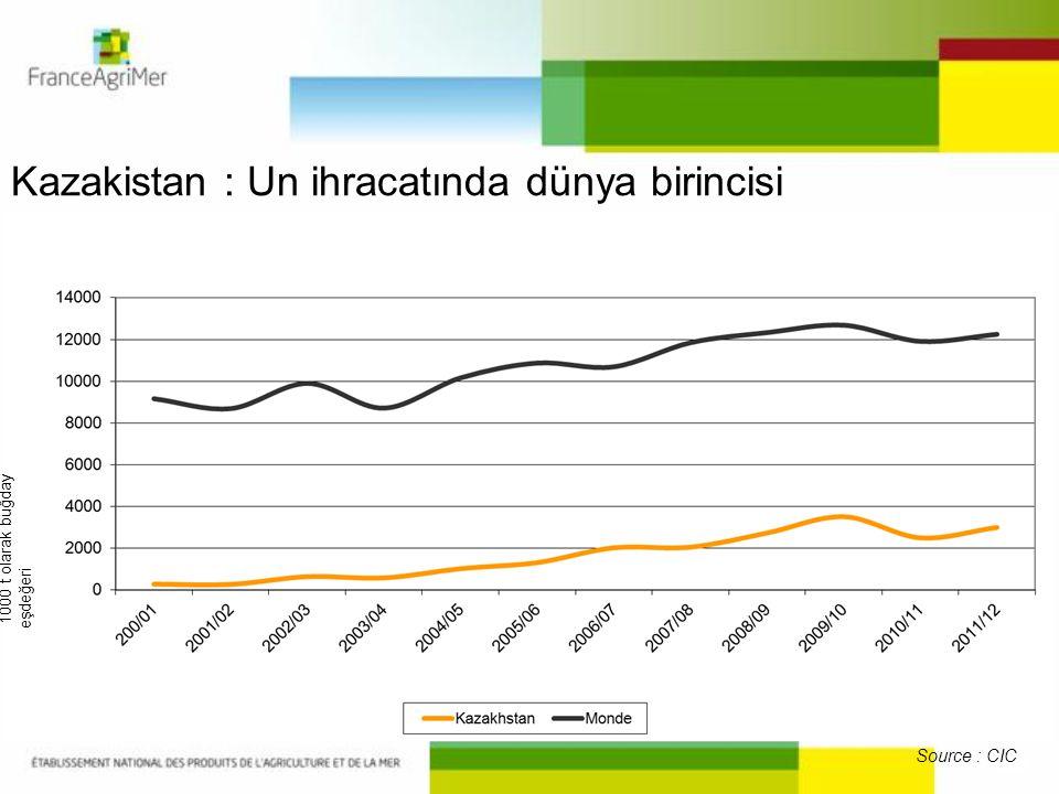 Kazakistan : Un ihracatında dünya birincisi Source : CIC 1000 t olarak buğday eşdeğeri