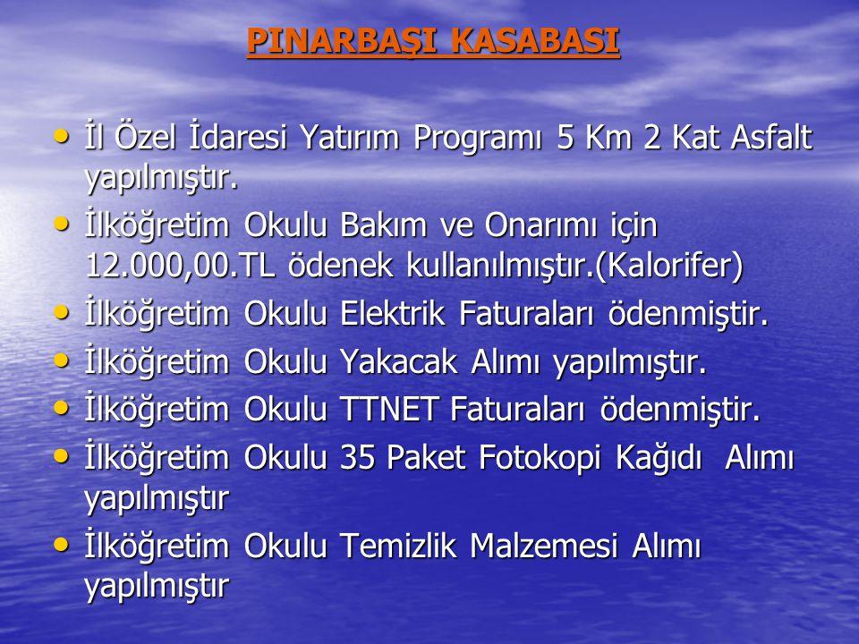 PINARBAŞI KASABASI • İl Özel İdaresi Yatırım Programı 5 Km 2 Kat Asfalt yapılmıştır.