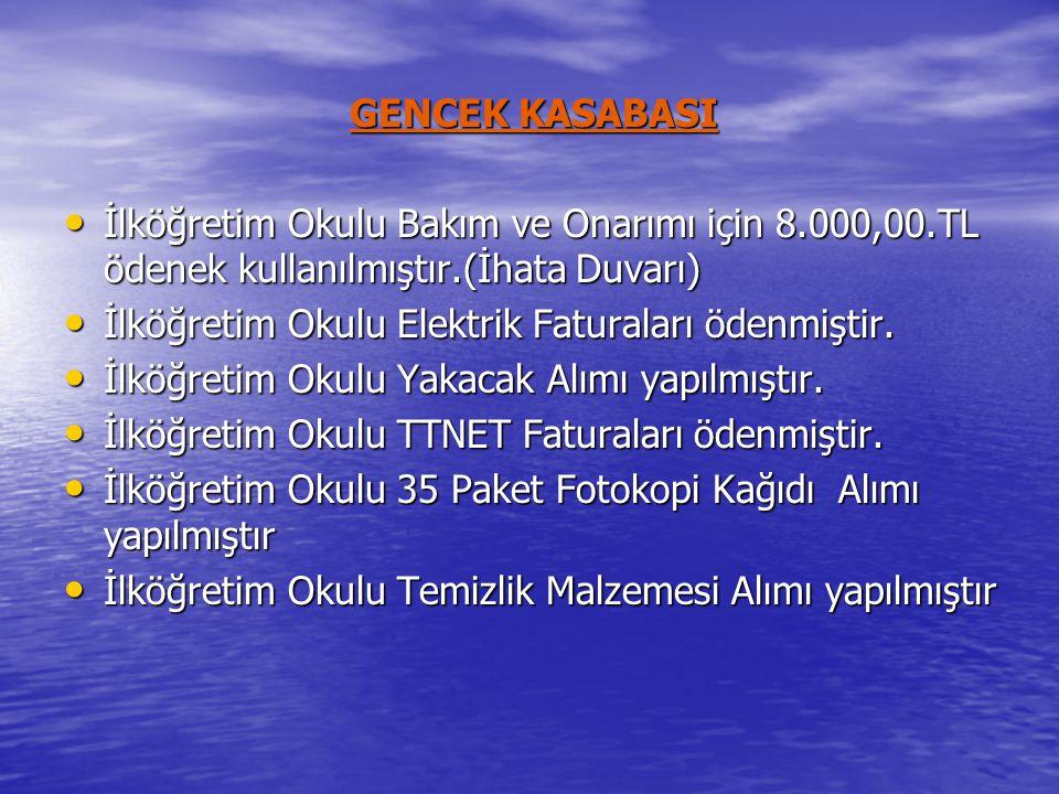 GENCEK KASABASI • İlköğretim Okulu Bakım ve Onarımı için 8.000,00.TL ödenek kullanılmıştır.(İhata Duvarı) • İlköğretim Okulu Elektrik Faturaları ödenmiştir.