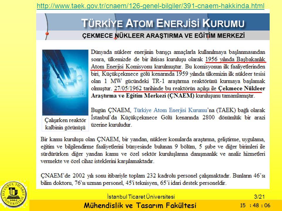 Mühendislik ve Tasarım Fakültesi İstanbul Ticaret Üniversitesi http://www.taek.gov.tr/cnaem/126-genel-bilgiler/391-cnaem-hakkinda.html 3/21
