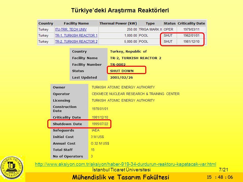 Mühendislik ve Tasarım Fakültesi İstanbul Ticaret Üniversitesi CountryTurkey, Republic of Facility NameTR-2, TURKISH REACTOR 2 Facility NumberTR-0002