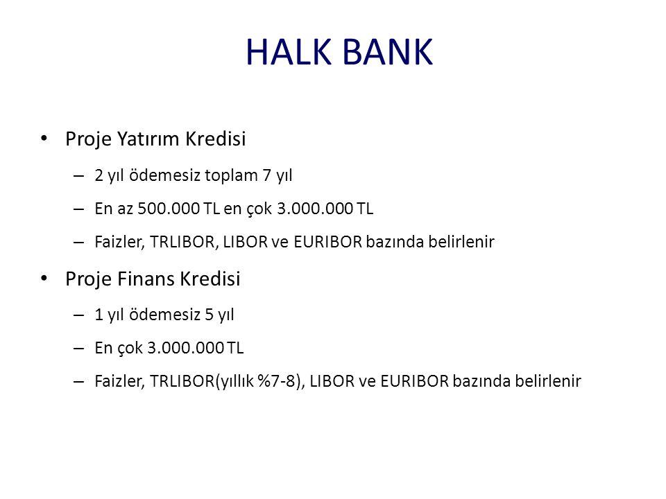 HALK BANK • Proje Yatırım Kredisi – 2 yıl ödemesiz toplam 7 yıl – En az 500.000 TL en çok 3.000.000 TL – Faizler, TRLIBOR, LIBOR ve EURIBOR bazında be
