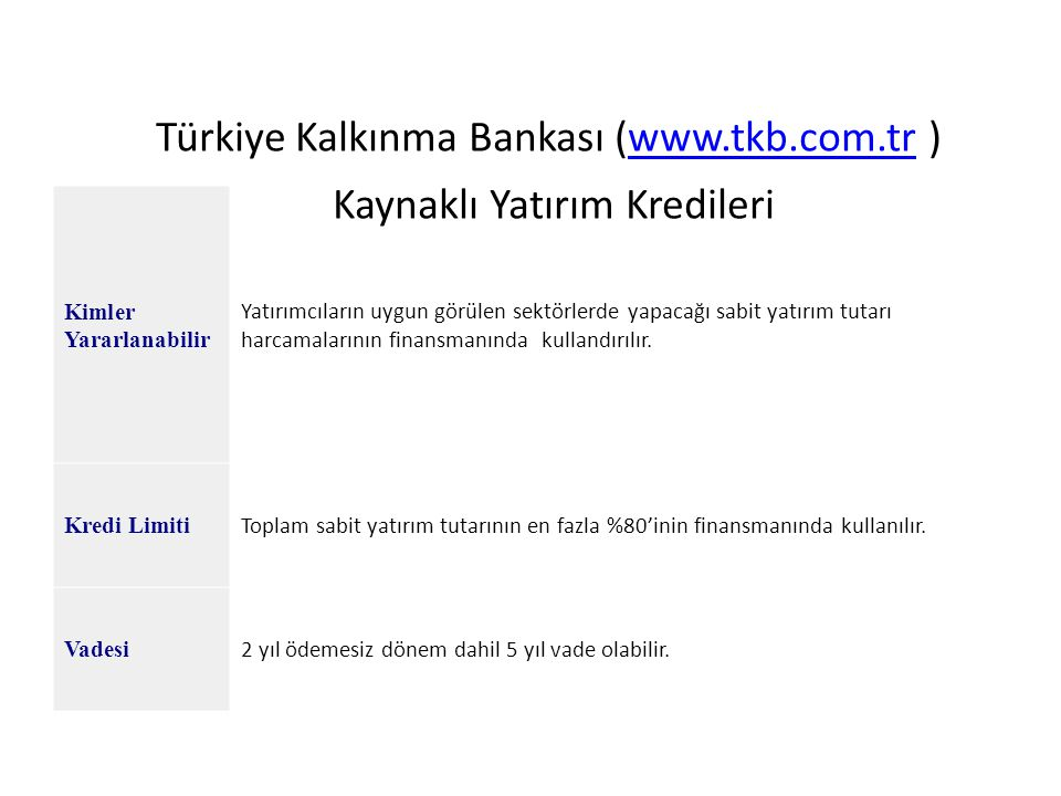 Türkiye Kalkınma Bankası (www.tkb.com.tr ) Kaynaklı Yatırım Kredileriwww.tkb.com.tr Kimler Yararlanabilir Yatırımcıların uygun görülen sektörlerde yap
