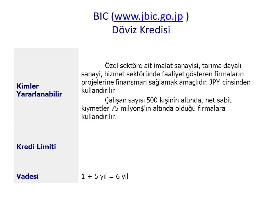 BIC (www.jbic.go.jp ) Döviz Kredisiwww.jbic.go.jp Kimler Yararlanabilir Özel sektöre ait imalat sanayisi, tarıma dayalı sanayi, hizmet sektöründe faal