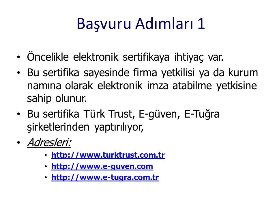 Başvuru Adımları 1 • Öncelikle elektronik sertifikaya ihtiyaç var. • Bu sertifika sayesinde firma yetkilisi ya da kurum namına olarak elektronik imza