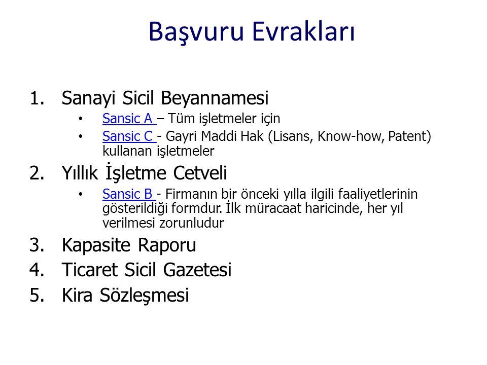 Başvuru Evrakları 1.Sanayi Sicil Beyannamesi • Sansic A – Tüm işletmeler için Sansic A • Sansic C - Gayri Maddi Hak (Lisans, Know-how, Patent) kullana