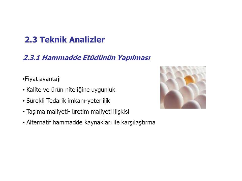 2.3 Teknik Analizler 2.3.1 Hammadde Etüdünün Yapılması • Fiyat avantajı • Kalite ve ürün niteliğine uygunluk • Sürekli Tedarik imkanı-yeterlilik • Taş