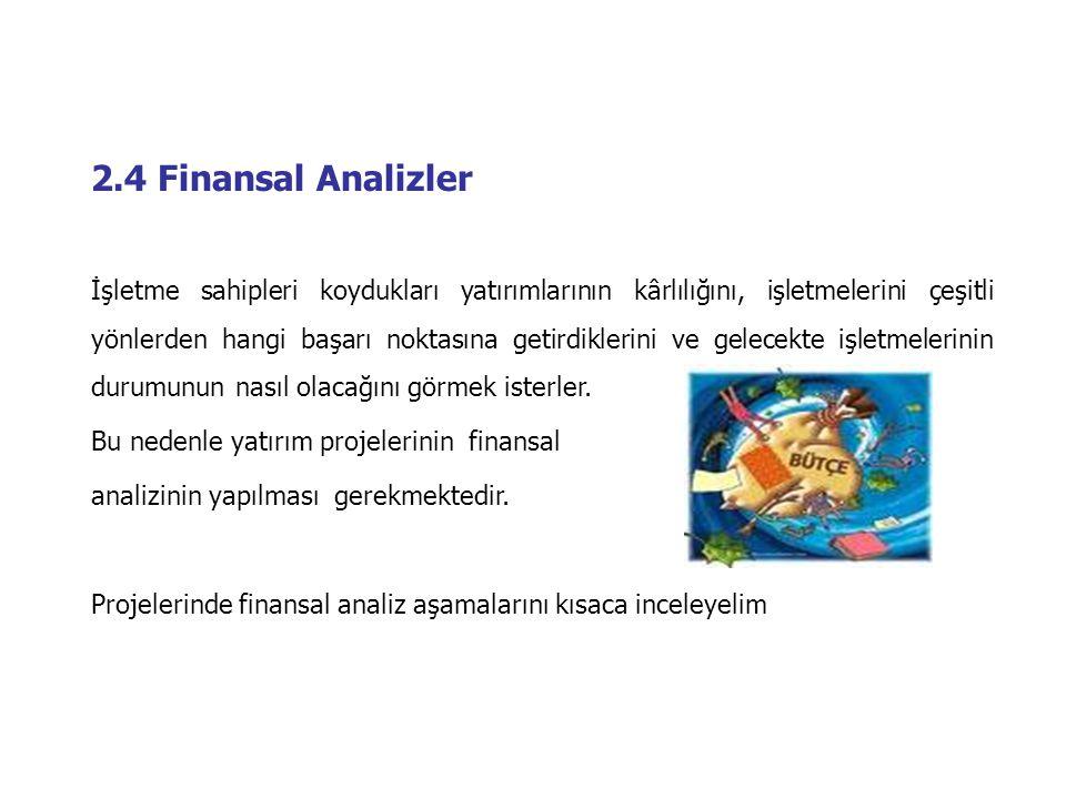 2.4 Finansal Analizler İşletme sahipleri koydukları yatırımlarının kârlılığını, işletmelerini çeşitli yönlerden hangi başarı noktasına getirdiklerini