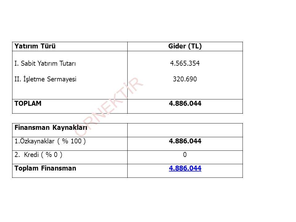 Yatırım TürüGider (TL) I. Sabit Yatırım Tutarı II. İşletme Sermayesi 4.565.354 320.690 TOPLAM4.886.044 ÖRNEKTİR Finansman Kaynakları 1.Özkaynaklar ( %