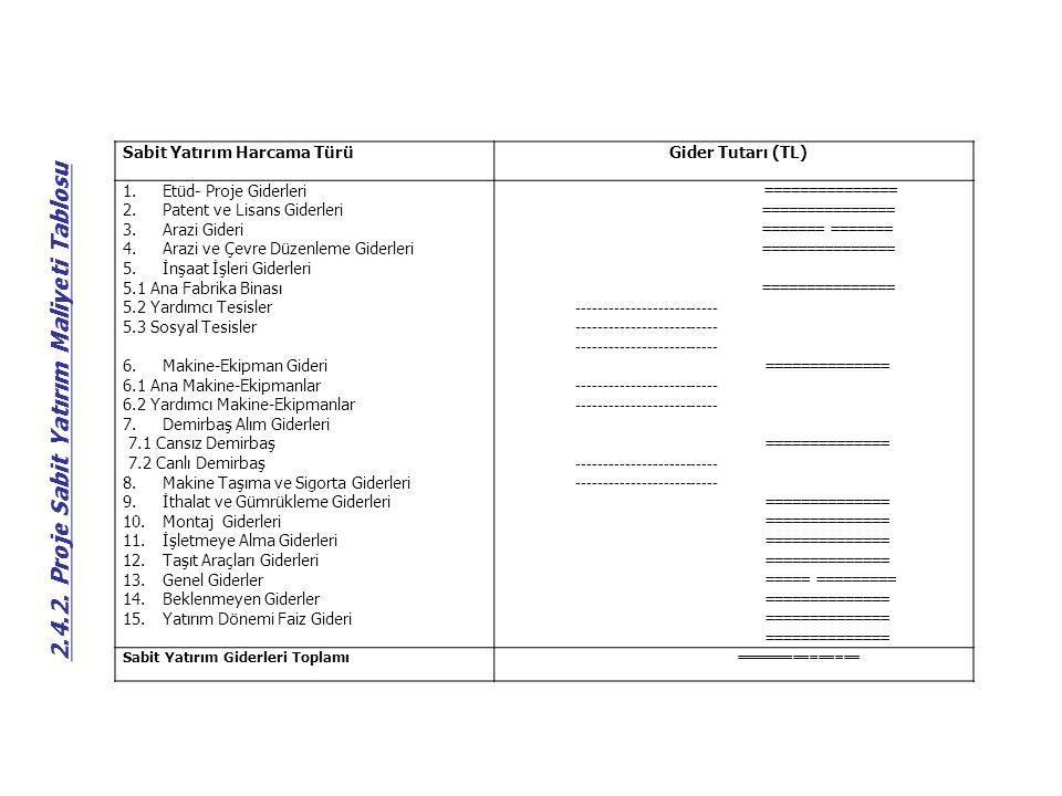 Sabit Yatırım Harcama Türü Gider Tutarı (TL) 1.Etüd- Proje Giderleri 2.Patent ve Lisans Giderleri 3.Arazi Gideri 4.Arazi ve Çevre Düzenleme Giderleri