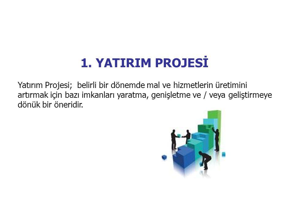 1. YATIRIM PROJESİ Yatırım Projesi; belirli bir dönemde mal ve hizmetlerin üretimini artırmak için bazı imkanları yaratma, genişletme ve / veya gelişt