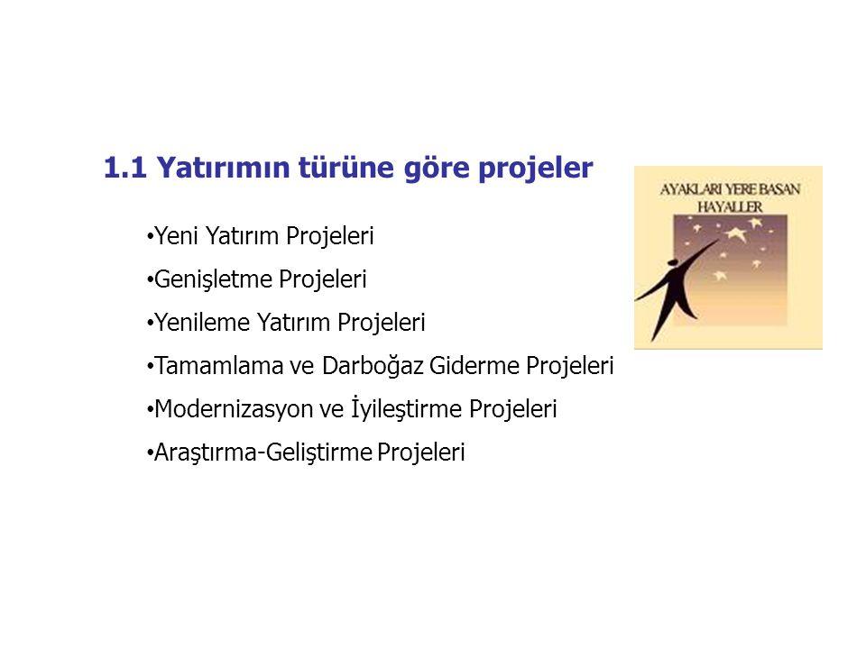 1.1 Yatırımın türüne göre projeler • Yeni Yatırım Projeleri • Genişletme Projeleri • Yenileme Yatırım Projeleri • Tamamlama ve Darboğaz Giderme Projel
