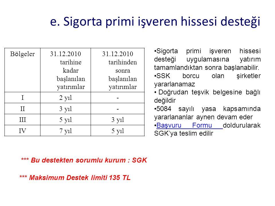 e. Sigorta primi işveren hissesi desteği B ö lgeler 31.12.2010 tarihine kadar başlanılan yatırımlar 31.12.2010 tarihinden sonra başlanılan yatırımlar