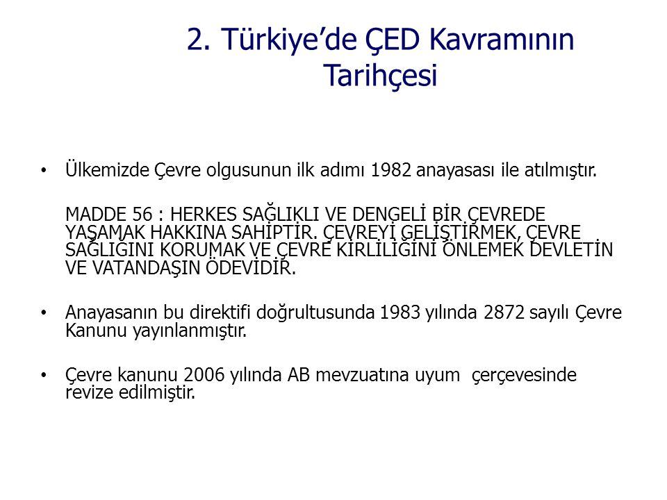2. Türkiye'de ÇED Kavramının Tarihçesi • Ülkemizde Çevre olgusunun ilk adımı 1982 anayasası ile atılmıştır. MADDE 56 : HERKES SAĞLIKLI VE DENGELİ BİR