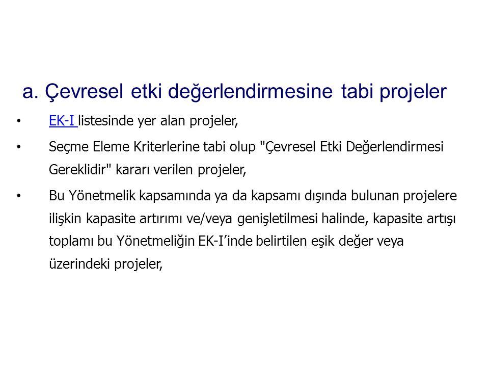 • EK-I listesinde yer alan projeler, EK-I • Seçme Eleme Kriterlerine tabi olup