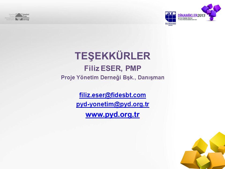 TEŞEKKÜRLER Filiz ESER, PMP Proje Yönetim Derneği Bşk., Danışman filiz.eser@fidesbt.com pyd-yonetim@pyd.org.tr www.pyd.org.tr