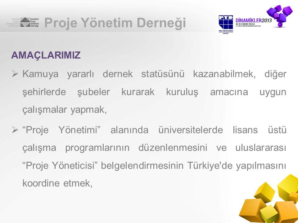 Proje Yönetim Derneği  Ulusal Proje Yöneticisi Sertifikası belgelendirme çalışmalarını yapmak,  Mesleki Yeterlilik Kurumu ile çalışmalar  Türkçe Proje Yönetimi Terminolojisini oluşturmak, AMAÇLARIMIZ