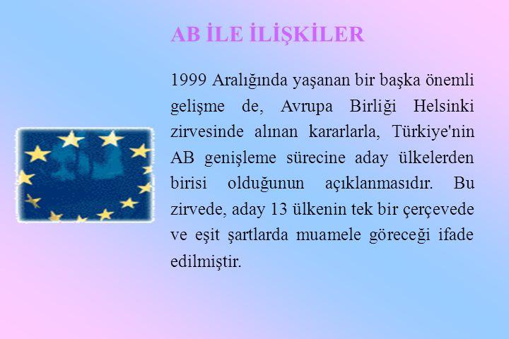 AB İLE İLİŞKİLER 1999 Aralığında yaşanan bir başka önemli gelişme de, Avrupa Birliği Helsinki zirvesinde alınan kararlarla, Türkiye'nin AB genişleme s