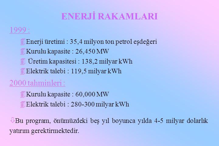 ENERJİ RAKAMLARI 1999 : 4Enerji üretimi : 35,4 milyon ton petrol eşdeğeri 4Kurulu kapasite : 26,450 MW 4 Üretim kapasitesi : 138,2 milyar kWh 4Elektri