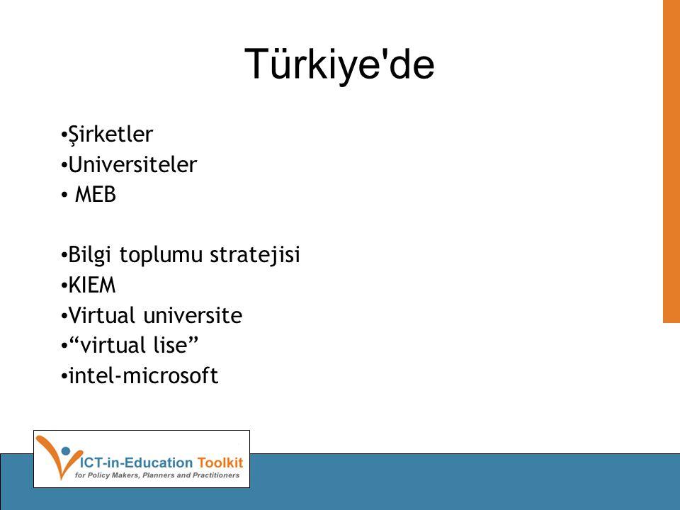 Türkiye de • Şirketler • Universiteler • MEB • Bilgi toplumu stratejisi • KIEM • Virtual universite • virtual lise • intel-microsoft