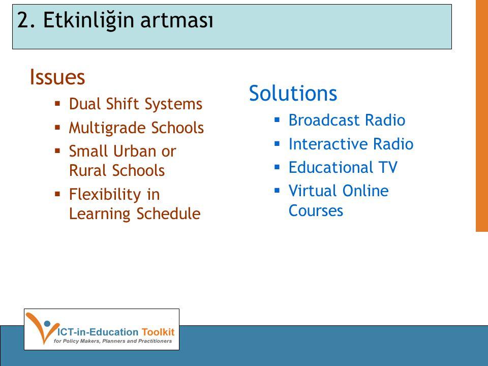 2. Etkinliğin artması Issues  Dual Shift Systems  Multigrade Schools  Small Urban or Rural Schools  Flexibility in Learning Schedule Solutions  B