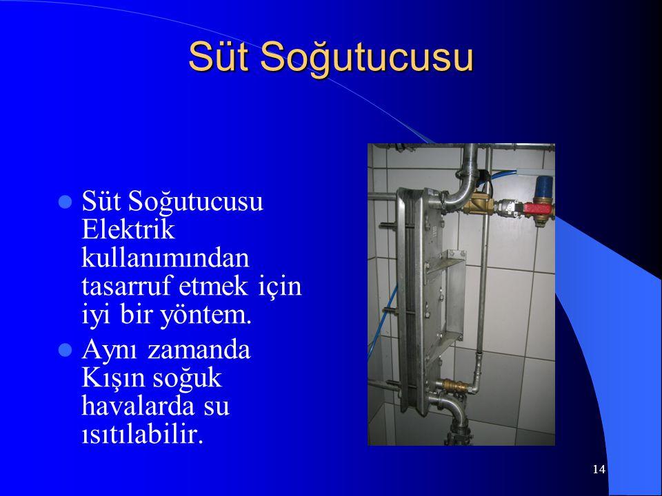 14 Süt Soğutucusu  Süt Soğutucusu Elektrik kullanımından tasarruf etmek için iyi bir yöntem.  Aynı zamanda Kışın soğuk havalarda su ısıtılabilir.