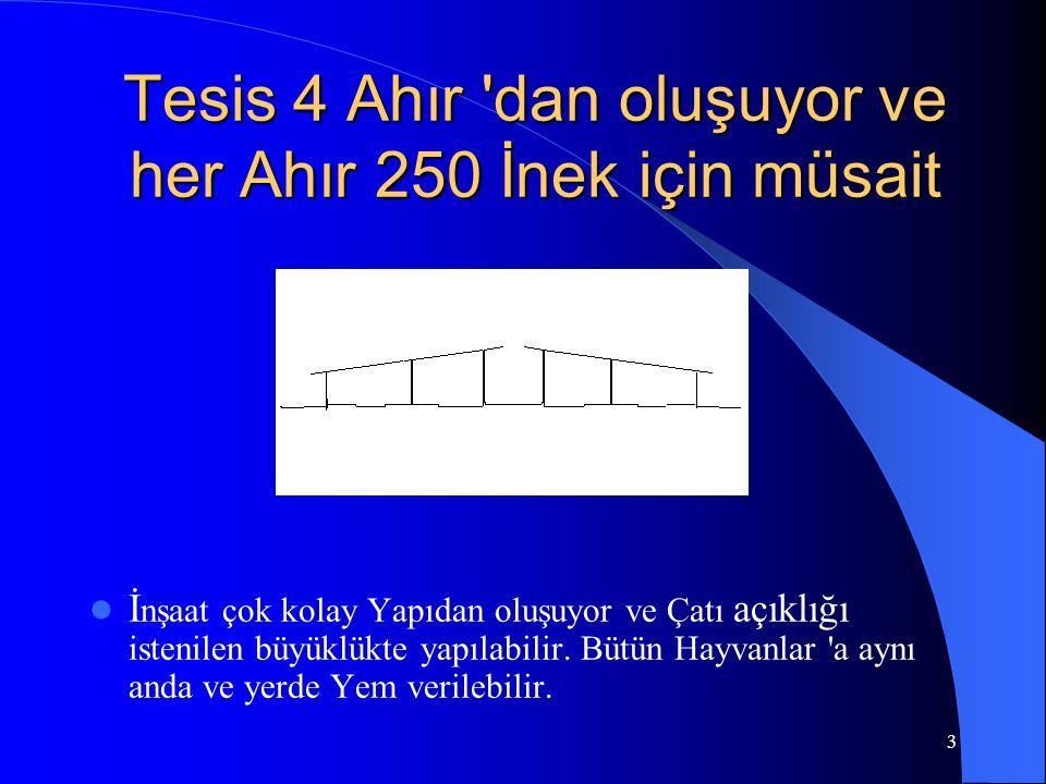 3 Tesis 4 Ahır 'dan oluşuyor ve her Ahır 250 İnek için müsait  İ nşaat çok kolay Yapıdan oluşuyor ve Çatı açıklığı istenilen büyüklükte yapılabilir.