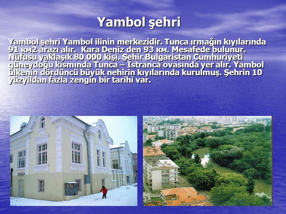 Yambol şehri Yambol şehri Yambol ilinin merkezidir. Tunca ırmağın kıyılarında 91 км2 arazı alır. K K K Kara Deniz den 93 км. Mesafede bulunur. Nüfusu