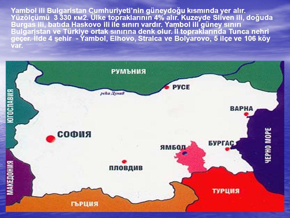 Yambol ili Bulgaristan Cumhuriyeti'nin güneydoğu kısmında yer alır. Yüzölçümü 3 330 км2. Ülke topraklarının 4% alır. Kuzeyde Sliven ili, doğuda Burgas