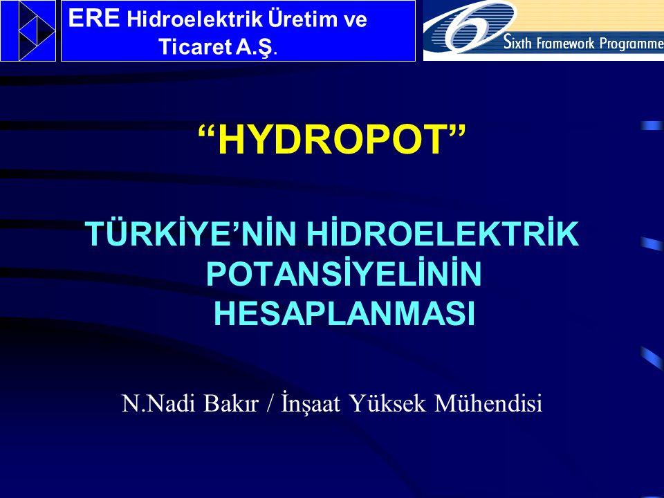 HYDROPOT TÜRKİYE'NİN HİDROELEKTRİK POTANSİYELİNİN HESAPLANMASI N.Nadi Bakır / İnşaat Yüksek Mühendisi ERE Hidroelektrik Üretim ve Ticaret A.Ş.