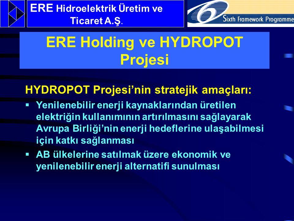 HYDROPOT Projesi'nin stratejik amaçları:  Yenilenebilir enerji kaynaklarından üretilen elektriğin kullanımının artırılmasını sağlayarak Avrupa Birliği'nin enerji hedeflerine ulaşabilmesi için katkı sağlanması  AB ülkelerine satılmak üzere ekonomik ve yenilenebilir enerji alternatifi sunulması ERE Hidroelektrik Üretim ve Ticaret A.Ş.