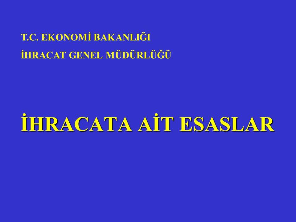 İHRACATA AİT ESASLAR T.C. EKONOMİ BAKANLIĞI İHRACAT GENEL MÜDÜRLÜĞÜ