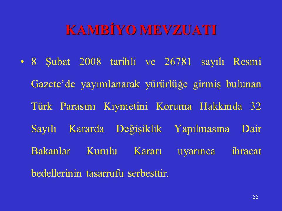 22 KAMBİYO MEVZUATI •8 Şubat 2008 tarihli ve 26781 sayılı Resmi Gazete'de yayımlanarak yürürlüğe girmiş bulunan Türk Parasını Kıymetini Koruma Hakkınd