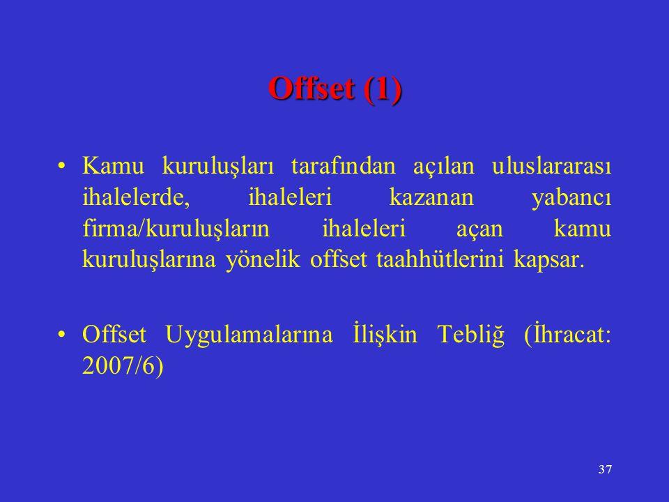 37 Offset (1) •Kamu kuruluşları tarafından açılan uluslararası ihalelerde, ihaleleri kazanan yabancı firma/kuruluşların ihaleleri açan kamu kuruluşlar